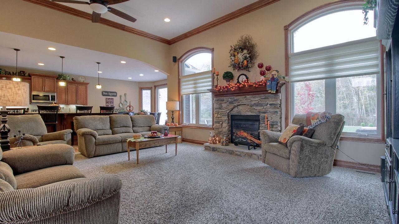 Interior living room of custom home.