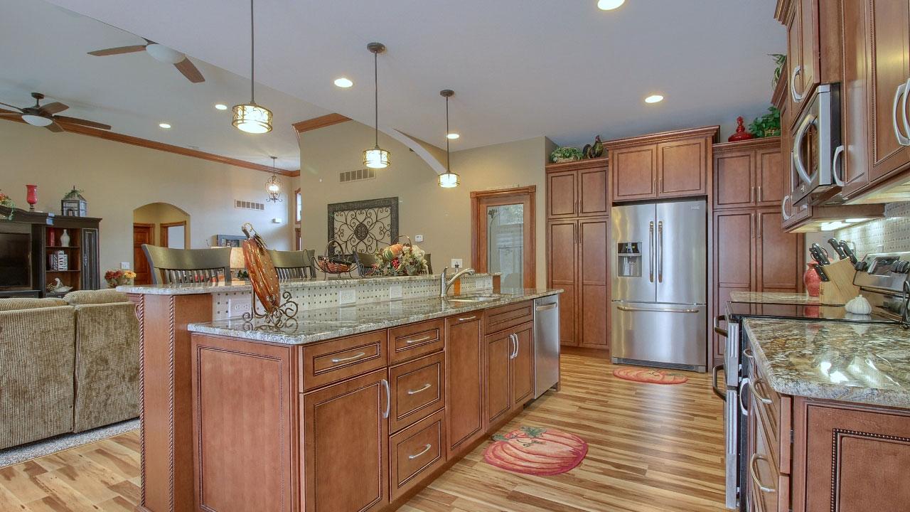 Kitchen of custom home.