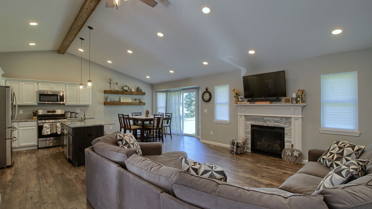 Living room and kitchen in custom home.