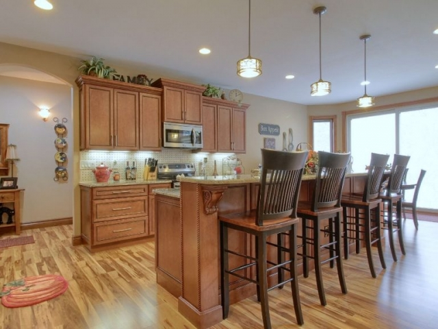 View of custom kitchen.